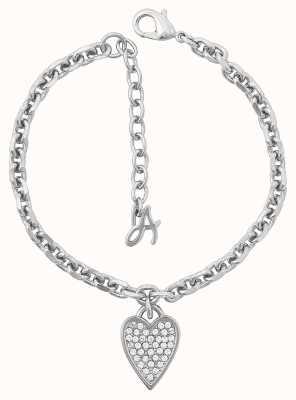 "Adore By Swarovski Pointed Heart Charm Bracelet 6.5-8"" Adjustable 5303083"