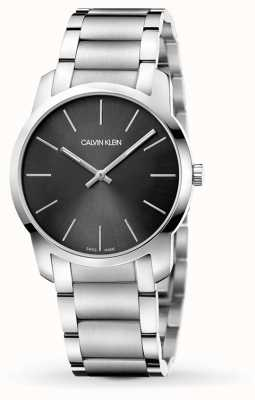 Calvin Klein | Mens City | Stainless Steel Bracelet | Black/Grey Dial | K2G22143