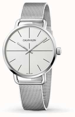 Calvin Klein | Womens Even Medium Stainless Steel Mesh | White Dial | K7B21126