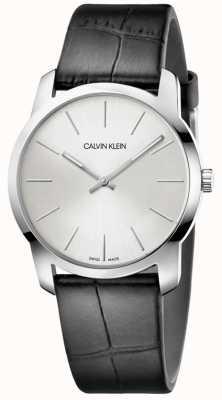 Calvin Klein | City Extension Watch | Black Leather Strap | Silver Dial | K2G221C6