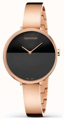 Calvin Klein | Womens Rise Extension | Rose Gold Bracelet | Black Dial | K7A23641
