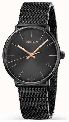 Calvin Klein | High Noon Watch | Black Stainless Mesh Strap | Black Dial K8M21421