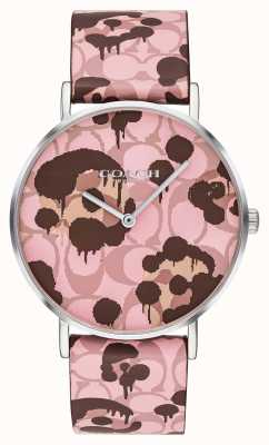 Coach | Womens Perry Watch | Pink Leather Strap Floral Design | 14503246
