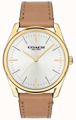 Coach | Mens Modern Luxury Watch | Tan Leather Strap White Dial | 14602398