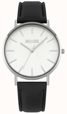 Missguided | Ladies Watch | Black Leather Strap White Dial | MG017B