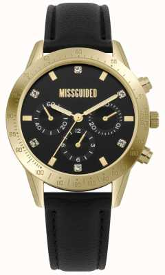 Missguided | Ladies Watch | Black Leather Gold Case | MG004BG
