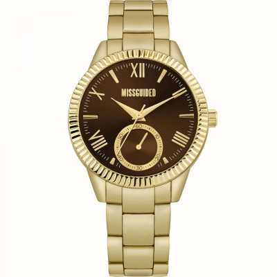 Missguided | Women's Gold Stainless Steel Bracelet | Brown Dial | MG006GM