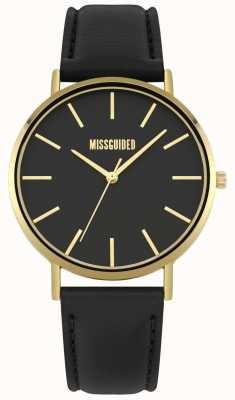 Missguided | Ladies Watch | Black Leather Strap Black Dial | MG017BG