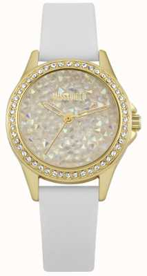 Missguided | Ladies Watch | White Leather Strap Gold Case | MG013WG