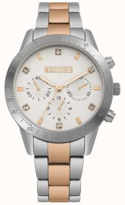 Missguided Ladies Stainless Steel Two Tone Silver And Rose Gold Watch | MG004SRM