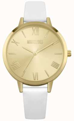 Missguided | Women's Cream Leather Strap | Champagne Dial | MG001WG