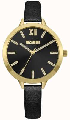 Missguided | Womens Black Leather Strap | Black Dial | MG005BG