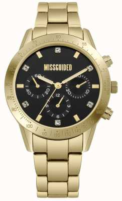 Missguided | Womens Gold Stainless Steel | Black Dial | Chronograph | MG004GM