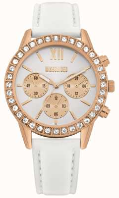Missguided | Womens White Leather Strap | White Dial | Chronograph MG015WRG