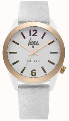 Hype | Womens White Glitter Silicone Strap | Silver Dial | HYL004S