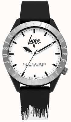 Hype | Mens Black/White Silicone Strap | White Dial | HYG006BW