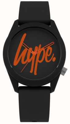 Hype | Black Silicone Strap | Black And Orange Dial | HYU001BO