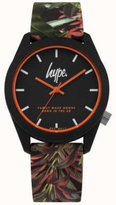 Hype | Black Leaf/Flower Silicone Strap | Black Dial | HYU009BN