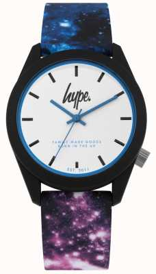 Hype | Blue And Purple Galaxy Print Silicone | White Dial | HYU009BV