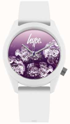Hype | White Silicone Strap | Purple Flower Dial | HYU010WV