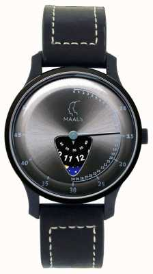 Maals Jump Over The Moon Black Leather Strap JOTMBLACKSTEEL