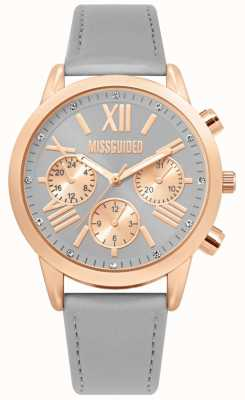 Missguided | Ladies Leather Grey Strap | Rose Gold Case | MG019ERG