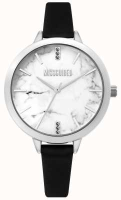 Missguided | Ladies Black Leather Watch | White Marbel Dial | MG011BS