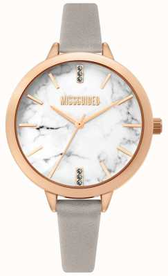 Missguided | Ladies Grey Leather Strap | White Marbel Dial | MG011ERG