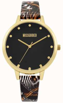 Missguided | Ladies Multi Print Strap | Black Dial | Gold Case | MG022BG