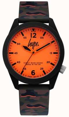 Hype | Mens Camouflage Silicone Strap | Orange Dial | HYG019NO