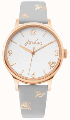 Joules | Ladies Rose Gold Case | Grey Leather Bumblebee Strap | JSL016ERG