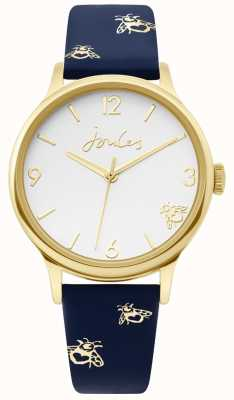 Joules | Ladies Gold Case | Blue Leather Bumblebee Print Strap | JSL016UG