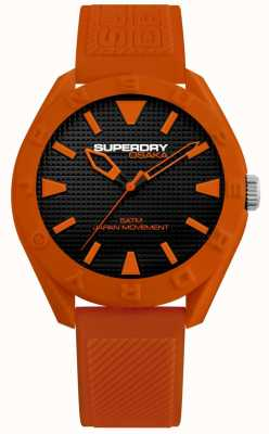 Superdry | Osaka | Matt Black Dial | Orange Textured Strap | SYG243O