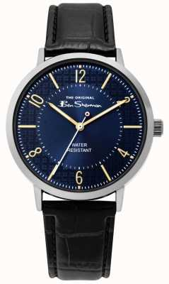 Ben Sherman | Mens Script Watch | Black Leather Strap | Blue Dial | BS018B