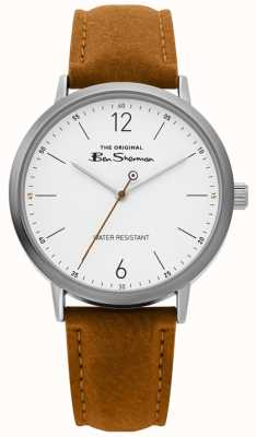 Ben Sherman | Mens Script Watch | Tan Strap | White Dial | BS019T