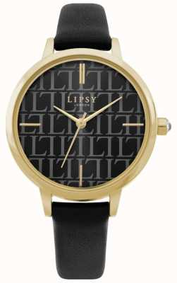 Lipsy | Womens Black Leather Strap | Black Dial | LP660