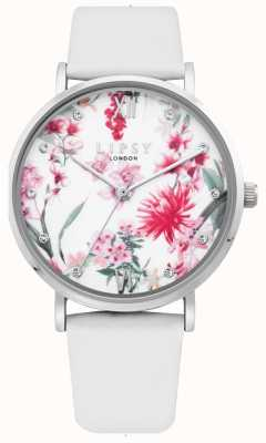Lipsy | Womens White Leather Strap | Floral Dial | LP641