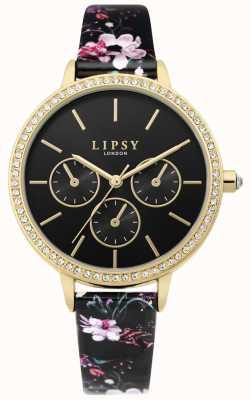 Lipsy | Womens Black Floral Leather Strap | Black Dial | LP647