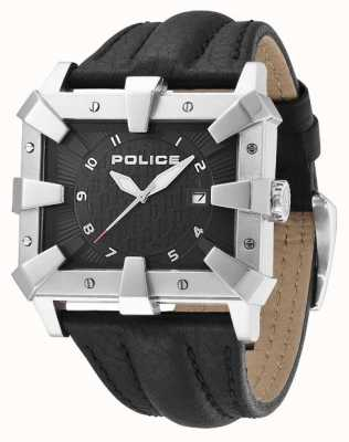 Police Mens Black Leather Strap Black Dial PL.93404AEU/02
