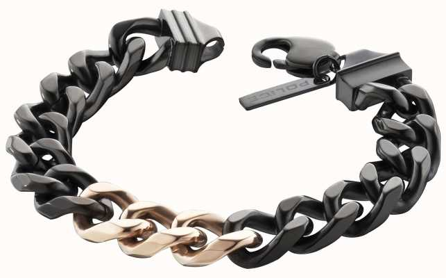 Police Mens Black Rose Gold PVD Plated Chain Bracelet 25685BSB/01-L