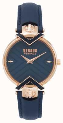 Versus Versace | Ladies Blue Leather Strap With Rose Gold | VSPLH0419