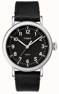 Timex | Mens Black Leather Strap | Black Dial | TW2T20200D7PF
