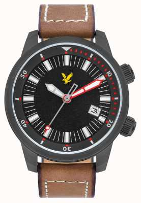 Lyle & Scott Mens Border Brown Leather Strap Black Dial LS-6010-04