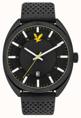 Lyle & Scott Mens Tevio Black Leather Strap Black Dial LS-6015-02