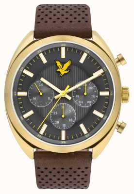 Lyle & Scott Mens Tevio XE Brown Leather Strap Grey Dial LS-6016-02
