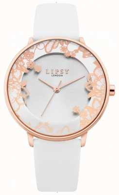 Lipsy | Womens White Leather Strap | Silver Sunray Dial | LP659