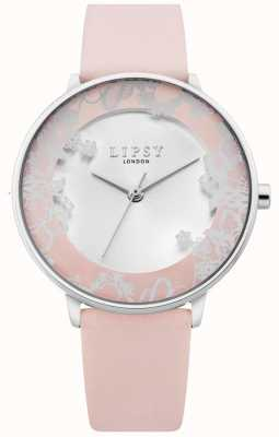 Lipsy | Womens Pink Leather Strap | Silver Sunray Dial | LP658