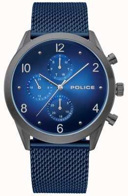 Police | Mens Gun Case Blue Multi Dial | Blue Mesh Bracelet | 15922JSU/03MM
