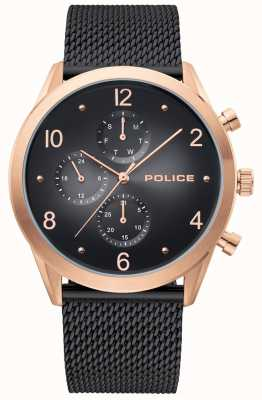 Police | Mens Rose Gold Case | Black Mesh Strap | Black Multi-Dial 15922JSR/02MMB