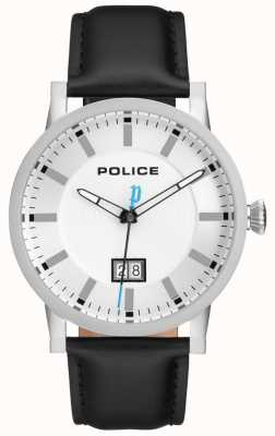 Police | Mens Collin Watch | Black Leather Strap | Silver Dial | 15404JS/01